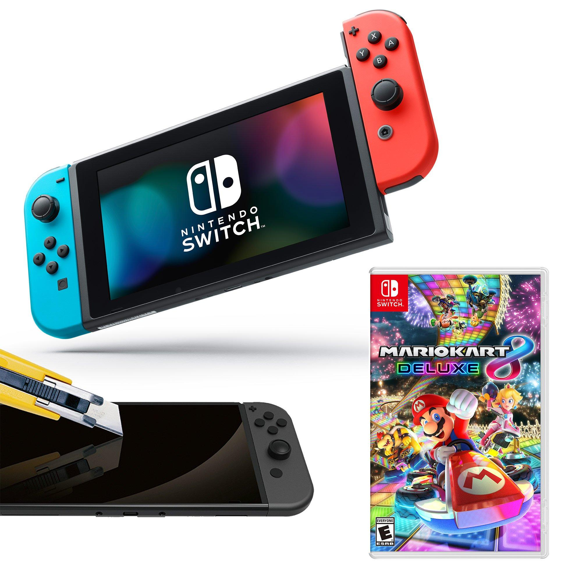Nintendo Switch Neon Joy Con With Screen Protector And Mario Kart
