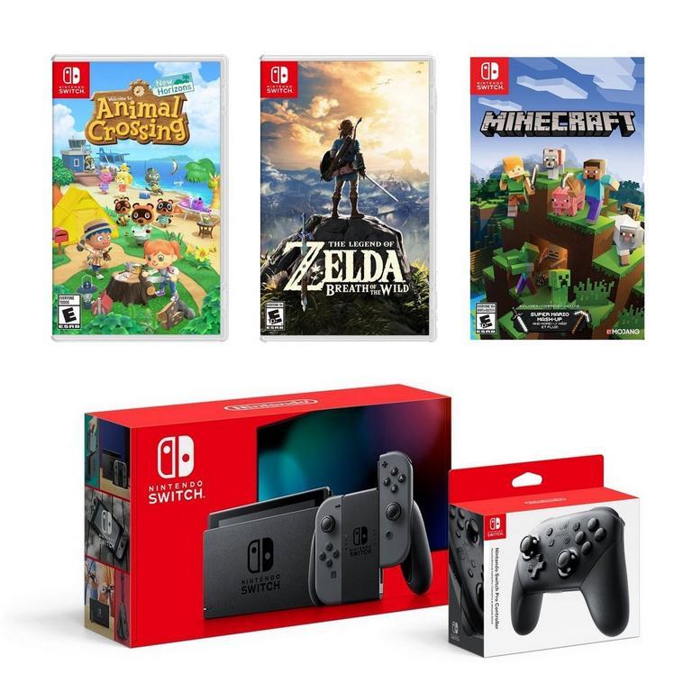 Nintendo Switch with Gray Joy Cons Gamer Bundle