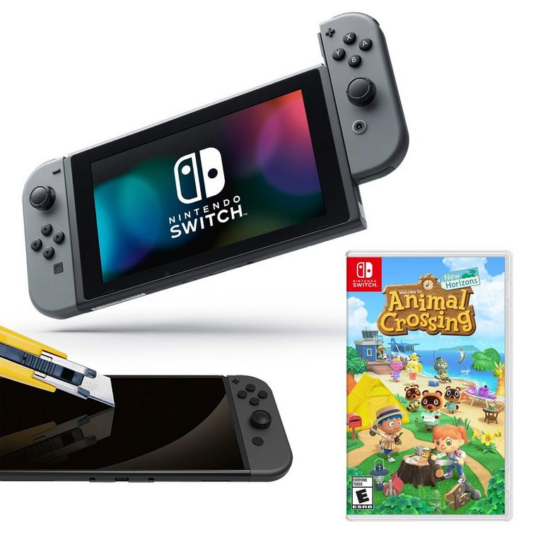 Nintendo Switch Gray Joy-Con with Screen Protector and Animal Crossing: New Horizons System Bundle