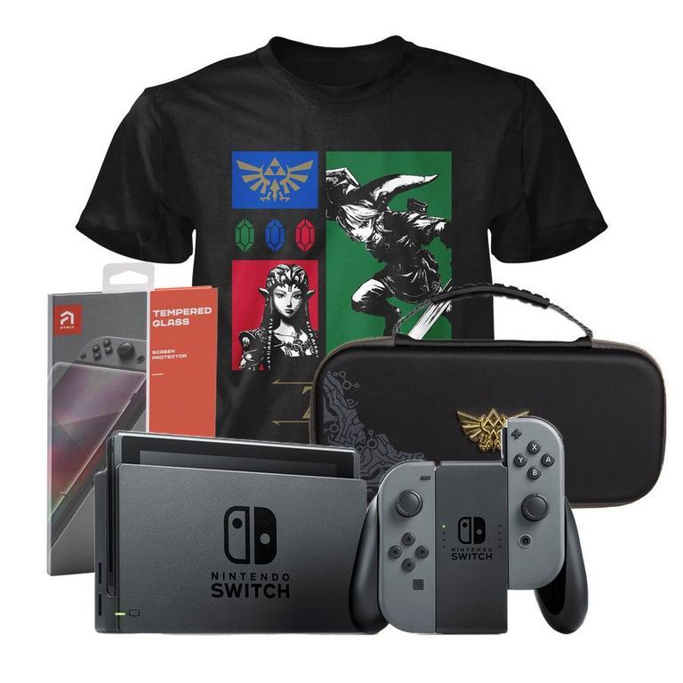 Nintendo Switch Gray Zelda Fan Starter System Bundle