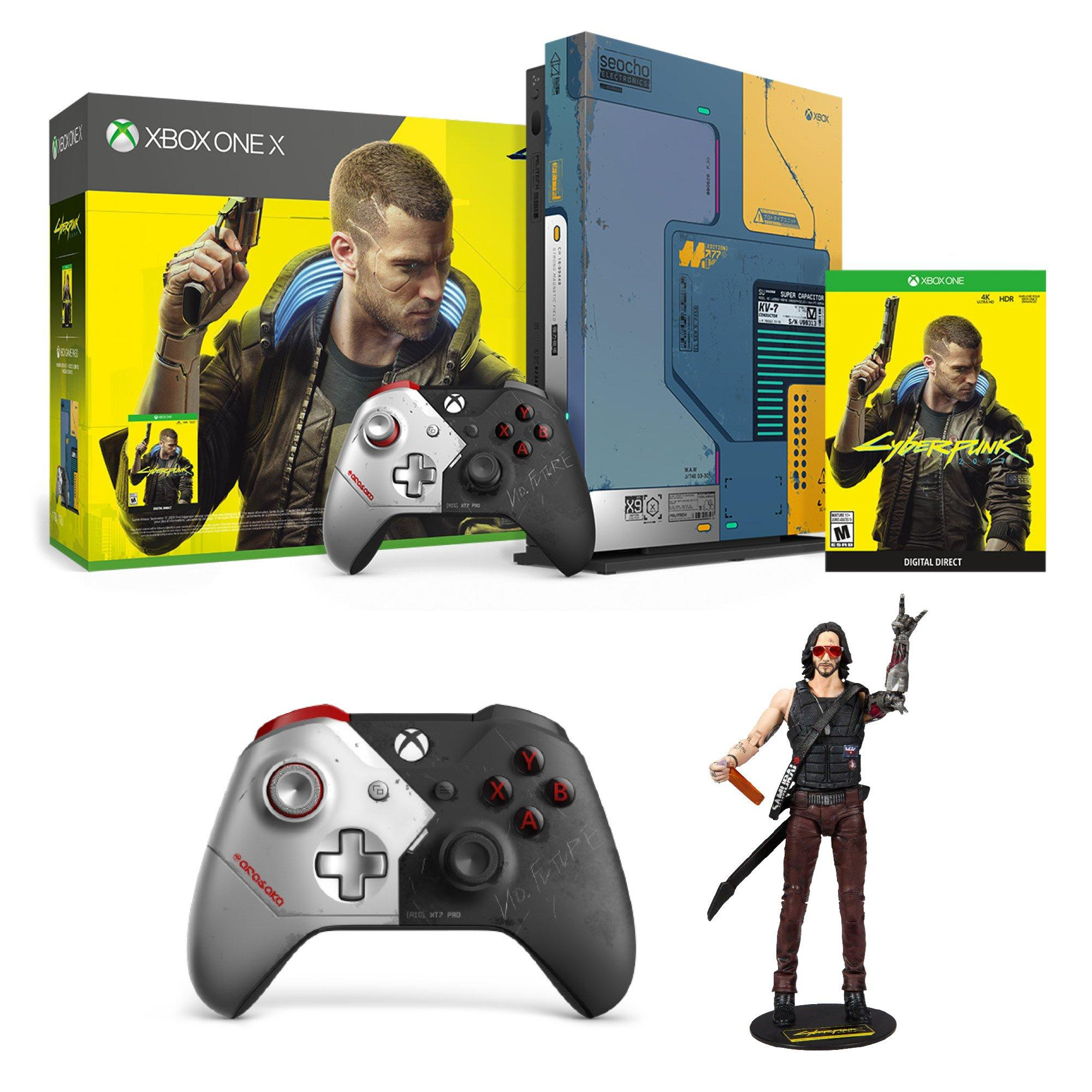 Microsoft Xbox One X 1TB Cyberpunk 2077 Limited Edition Console Bundle + Microsoft Xbox One Cyberpunk 2077 Wireless Controller + Cyberpunk 2077 Johnny Silverhand Action Figure