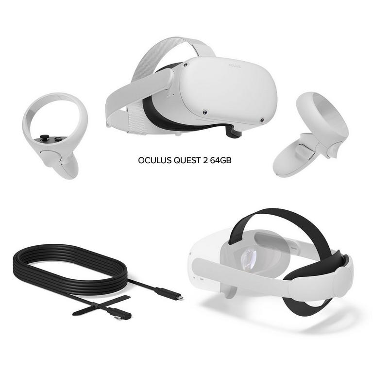 Oculus Quest 2 64gb With Head Strap And Link Cable System Bundle Gamestop