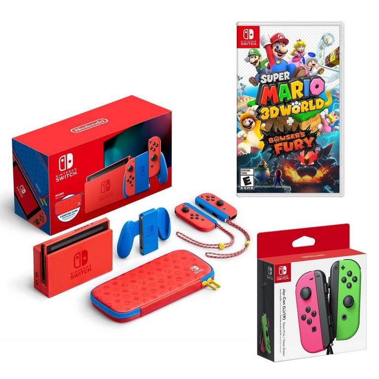 Nintendo Switch Mario Edition with Super Mario 3D World and extra Joy-Cons System Bundle