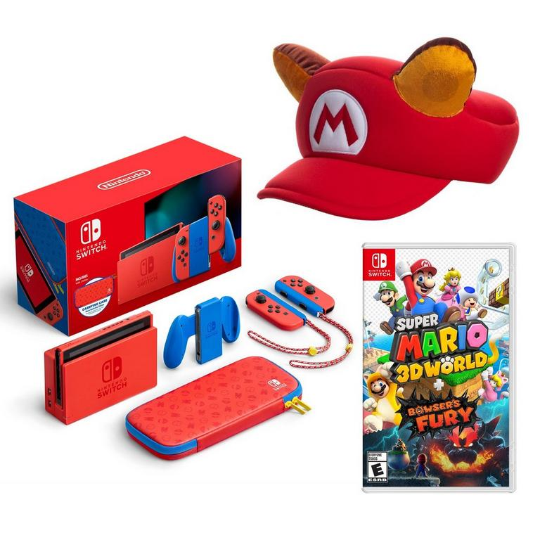 Nintendo Switch Mario Edition with Super Mario 3D World Collector's System Bundle