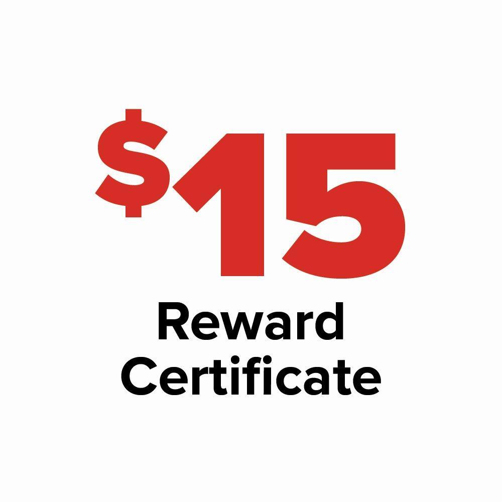 $15 Reward Certificate
