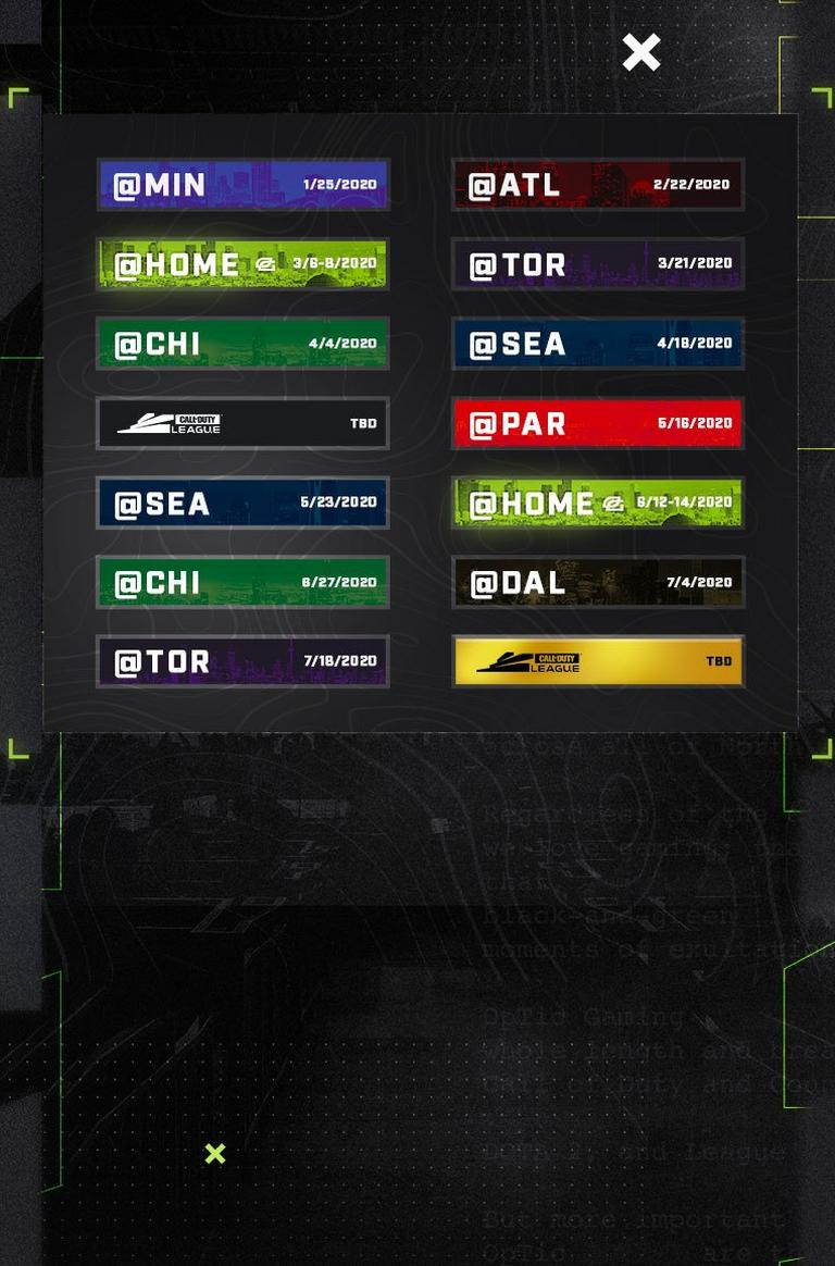 Optic Gaming Schedule